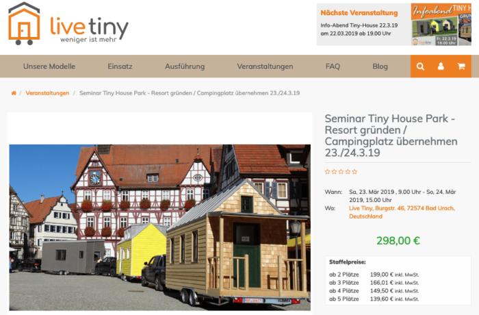 """Workshop-Teilnahme """"Tiny House Park – Resort gründen / Campingplatz übernehmen"""""""